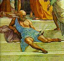 Where is raphael in the school of athens