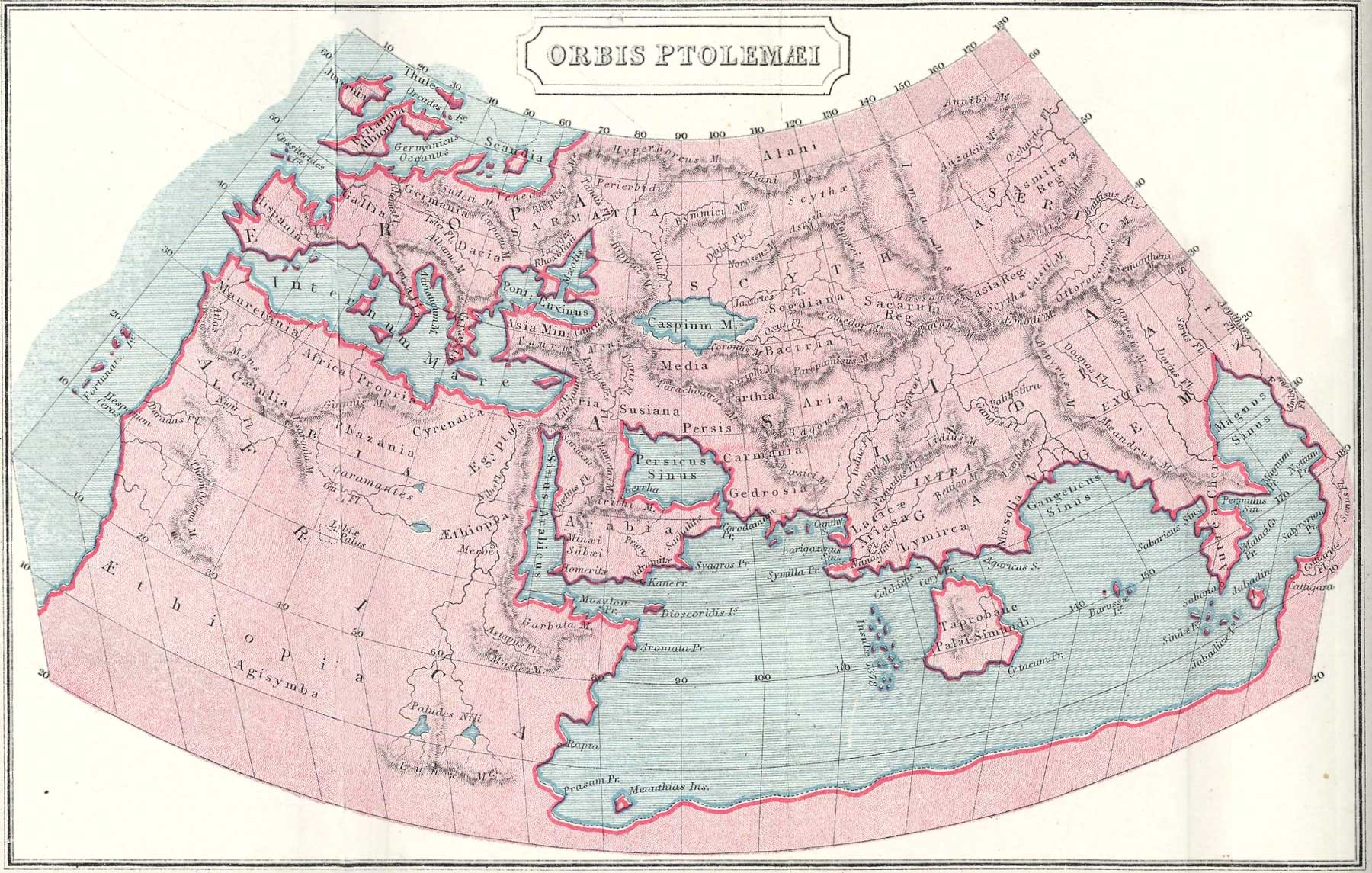 Ancient greece maps map of the world according to ptolemy gumiabroncs Gallery