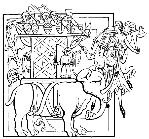 AN ELEPHANT WITH ITS CASTLE AND ARMED MEN ENGAGED IN BATTLE