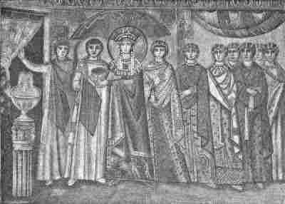 The Empress flanked by other members of her court