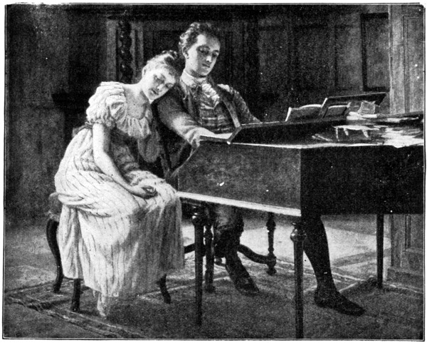 Young Mendelssohn playing a harpsicord with his sister next to him, leaning her head on his shoulder.