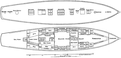 BELFAST LOUGH Boat plan/'Iota/' 2/'5 rater-LARGE 1891 old antique print picture